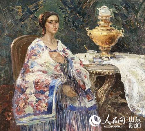 欧式人物喝茶油画