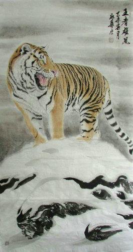 壁纸 动物 国画 虎 老虎 桌面 265_500 竖版 竖屏 手机