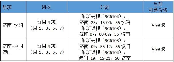 春秋航空将在济南开通沈阳、澳门直飞航线 到澳门仅需3小时左右