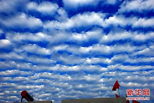 10月12日在山东省枣庄市山亭区拍摄的鱼鳞云。