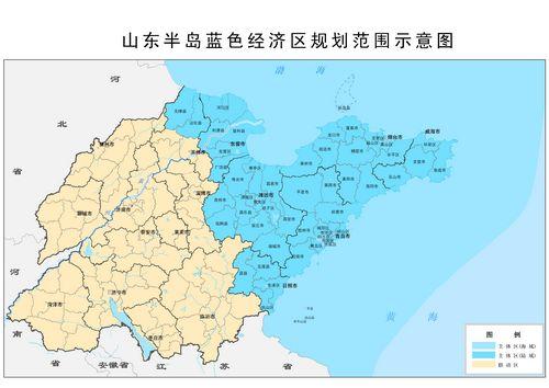 山东半岛行政区划图-山东 面朝蓝海绘蓝图